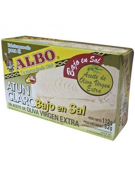 Atún Claro Bajo en Sal en Aceite de Oliva Virgen Extra Conservas Albo - 1