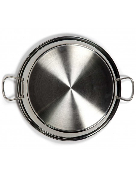 Stainless Steel Valencian Paella Pans 18/10 with Gold Handles